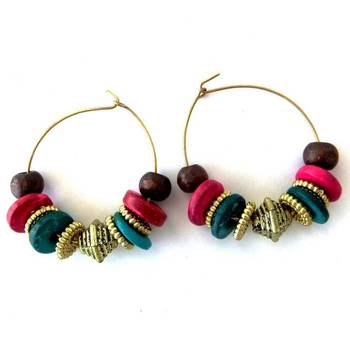 Bead Loop Earring - Green and Pink