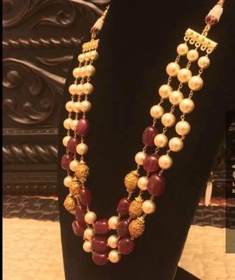 Designer 3 Line Ruby Nd Golden Beads Necklace