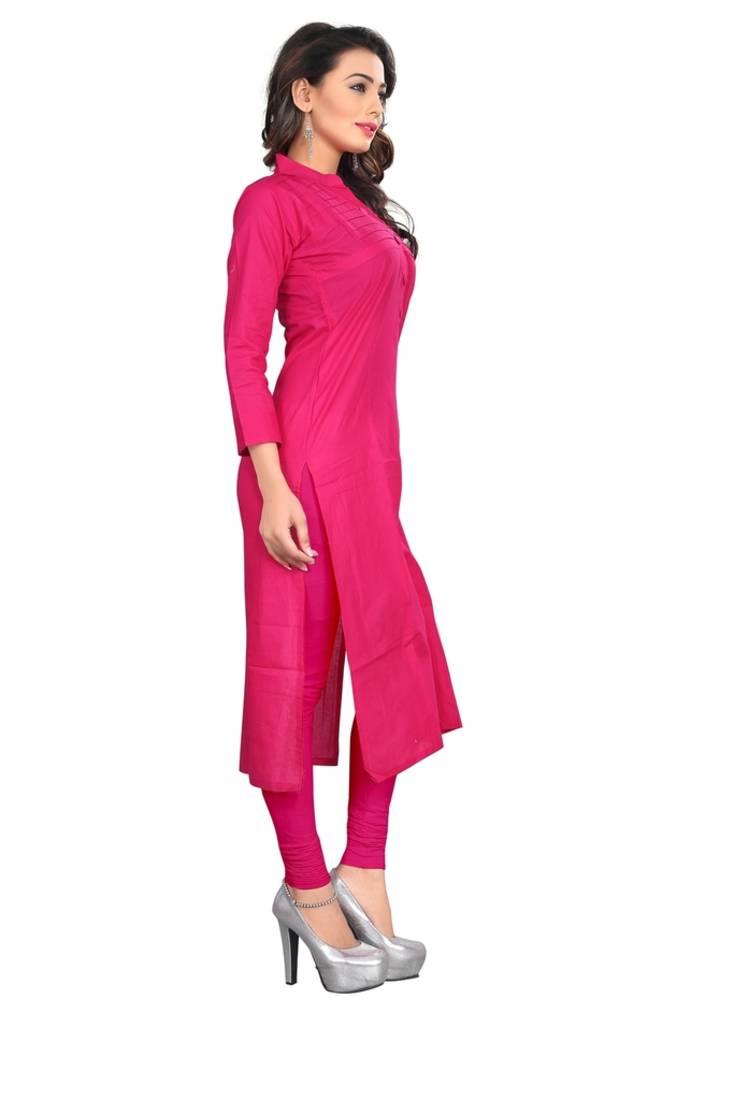 Buy Pink Floral Print Cotton Stitched Kurti Online