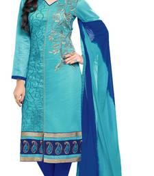 Buy  Sky Blue embroidered chanderi unstitched salwar Suit with dupatta  chanderi-salwar-kameez online