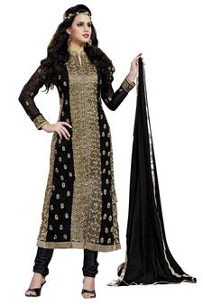 c8d185abee55 Women Black embroidered georgette unstitched salwar suit with Inner