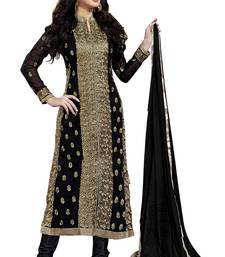Women Black embroidered georgette unstitched kameez suit with Inner