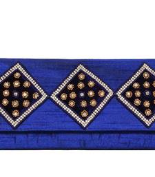 Buy Bridal Embroidery Clutch in Navy Blue clutch online