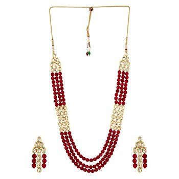 Kundan And Red Onyx Semi Precious Necklace Set With Earrings