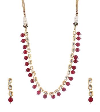 Kundan And Red Onyx Semi Precious Necklace Set