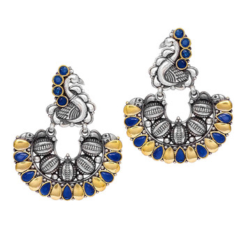 Oxidised Gold & Silver Plated Blue Colored Glass Stone Peacock Style Hoop Earrnigs