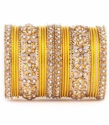 Buy Traditional Golden flower pattern bangle set bangles-and-bracelet online
