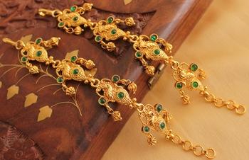 Beautiful antique emerald peacock ear side chain - DJ08274