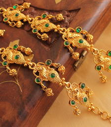 Buy Beautiful antique emerald peacock ear side chain - DJ08274 Other online