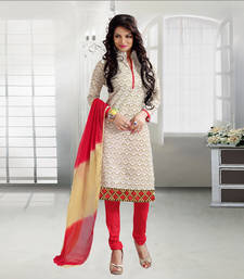 Buy chiku printed cotton unstitched salwar with dupatta dress-material online