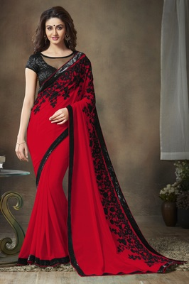 00d3fe56b5dc3 Red embroidered georgette saree with blouse - Zypara - 1879768