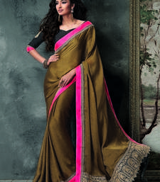 Buy Brown embroidered crepe saree with blouse crepe-saree online