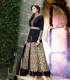 Buy black embroidered bhagalpuri cotton semi stitched salwar with dupatta semi-stitched-salwar-suit online