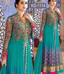Buy Aqua blue embroidered net semi stitched salwar with dupatta ready-to-ship-salwar-kameez online