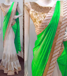 Buy Green embroidered art silk saree with blouse party-wear-saree online