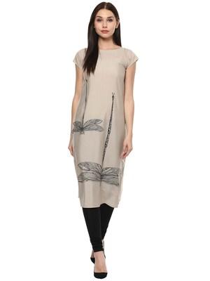 Grey stitched Crepe  stitched kurti