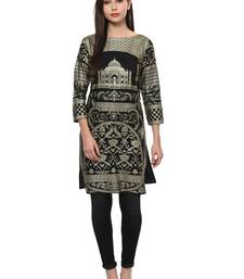 Buy Black stitched Crepe  stitched kurti long-kurti online