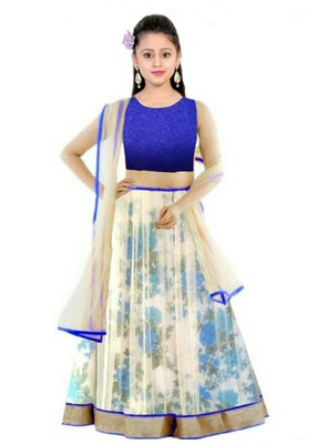3d161193d924 Blue bhaglpury semi stitched lehenga with dupatta14-15 years girls ...