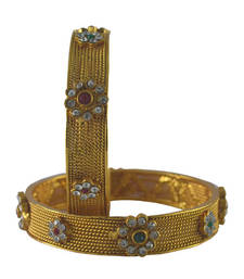 Gold Plated Kada With CZ Stones