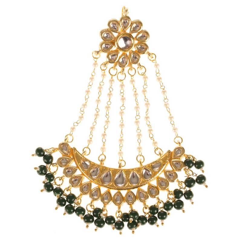 Kanjivaram Beads: Green Beads And Pearl Kundan Jhoomar Passa