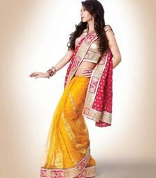 Buy Pink and yellow viscose pallu and net patli designer half N half saree wedding-saree online