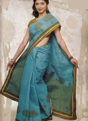 Sarees Cambric Cotton Designer Prints With Blouse Piece  D.No 961