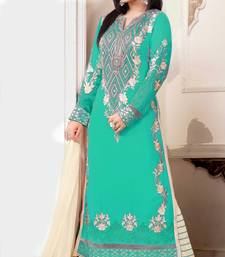 Buy Styles Closet Cyan embroidered georgette semi stitched salwar with dupatta semi-stitched-salwar-suit online