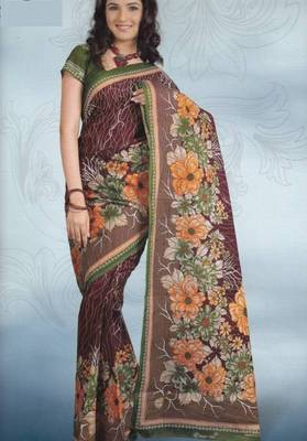 Sarees Cambric Cotton Designer Prints With Blouse Piece D.No 913
