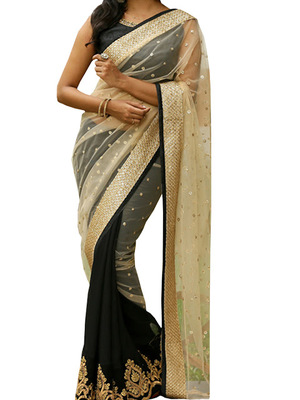 b04d5246ae Black embroidered georgette saree with blouse - Isha Enterprise - 1883094