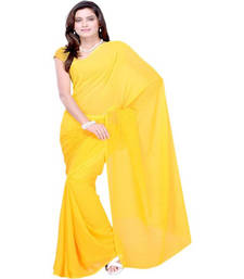 Buy Yellow plain georgette saree with blouse haldi-ceremony-dress online