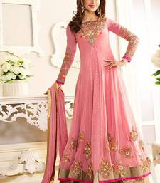 Buy Light pink embroidered net semi stitched salwar with dupatta semi-stitched-salwar-suit online