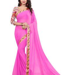 Buy Pink plain nazneen saree with blouse nazneen-saree online