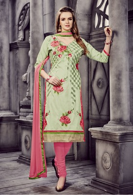 Blissta Light Green Cotton Embroidered Straight Suit Dress Material