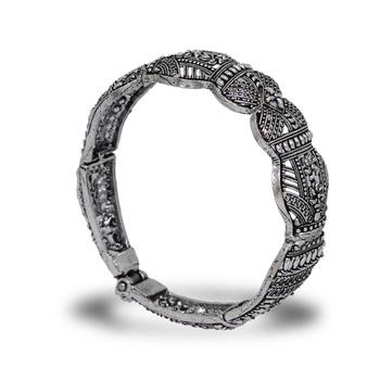 Adjustable Party Wear Collection Silver Tone Oxidised Designer Kada Bracelet