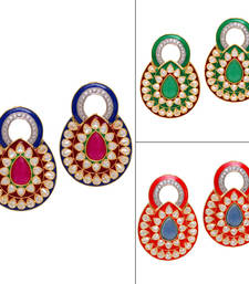 Multicolor Yellow Gold stone combo-earrings