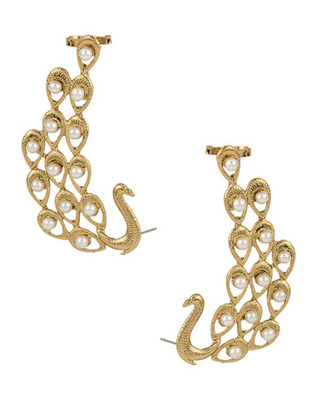Peacock moti embellished earcuffs