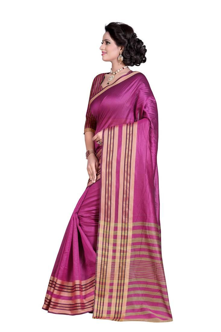 9a6ee574acfd7e Dark onion pink woven cotton silk saree with blouse - Kapadewala ...