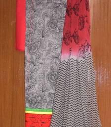 Buy Beautiful grey & red chanderi salwar kameez dress-material online