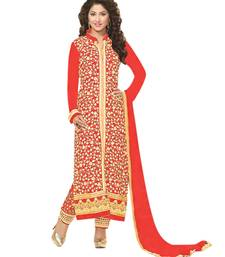 Buy Styles Closet Peach embroidered georgette semi stitched salwar with dupatta women-ethnic-wear online