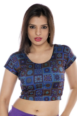 Blue printed lycra fabric stitched blouse