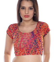 Orange printed lycra fabric stitched blouse