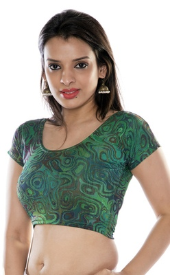 Green printed lycra fabric stitched blouse