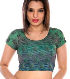 Teal printed lycra fabric stitched blouse