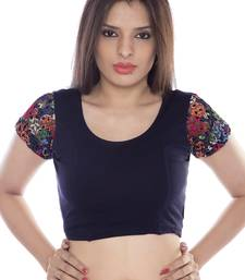 Navy blue solid lycra fabric stitched blouse