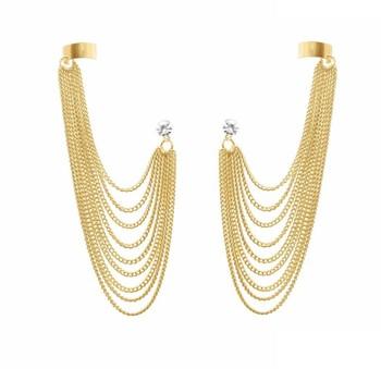 Golden gold plated ear cuffs