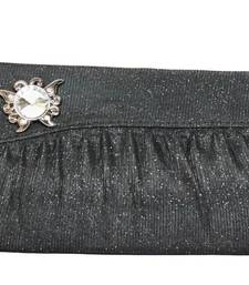 Buy Butterfly Crystal Motif over Designer Clutch in Black clutch online