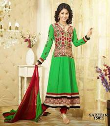 Buy Jaket Style Parrot Green Heena Khan Anarkali Suit salwars-and-churidar online