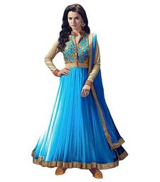 Buy Sky blue embroidered net semi stitched salwar with dupatta anarkali-salwar-kameez online