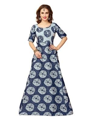 Gown By Kmozi (Navy Blue Shibori Cotton)
