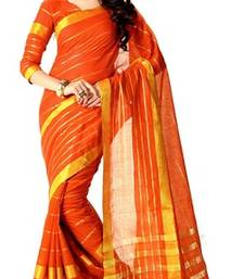 Buy orange maheshwari saree with blouse maheshwari-saree online